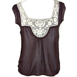 Anthropologie Fei Embroidered Neck Top Size 6